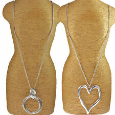 Two types large silver chunky heart pendant & twisted ring long necklace style