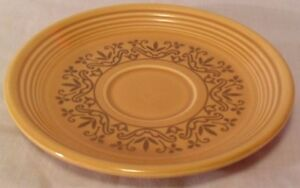 VINTAGE-HOMER-LAUGHLIN-FIESTA-COVENTRY-CASUALSTONE-ANTIQUE-GOLD-CUP-SAUCER-PLATE