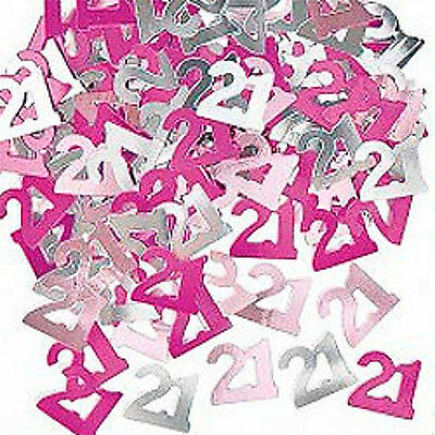 21st BIRTHDAY PARTY DECORATIONS SUPPLIES -  PINK GLITZ PINK CONFETTI
