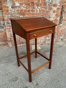 VINTAGE-TALL-WOODEN-CLERK-039-S-DESK-WITH-DRAWER-AND-STORAGE-HOSTESS-STAND