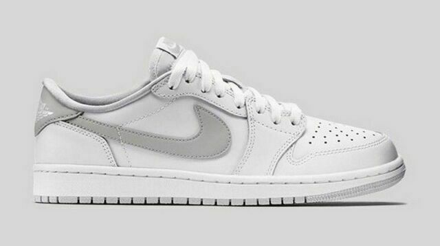 Size 10 - Jordan 1 Retro Low OG White Neutral Grey for sale online ...