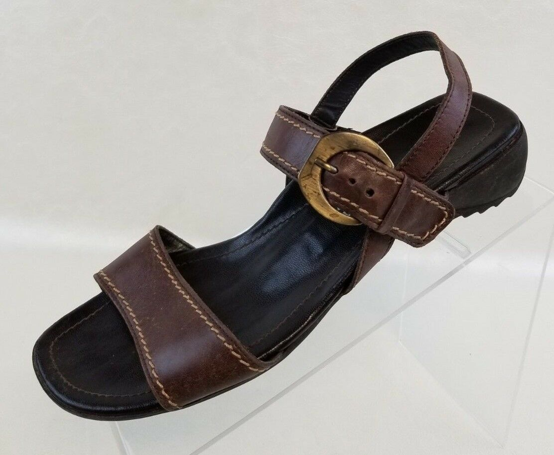 Paul Green Sandals Open Toe Toe Open Slingback Womens Brown Leather Slip On Shoes Size 6 ba31f4