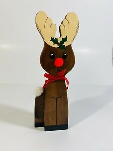 Vintage-80s-Handmade-Wooden-Christmas-Reindeer-Rustic-Country-Farmhouse-Holiday