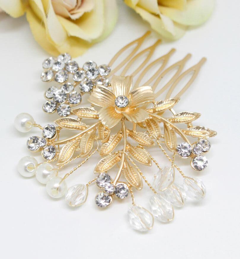 Handmade Gold tone hair comb bridal wedding rhinestone hair accessories ha3386