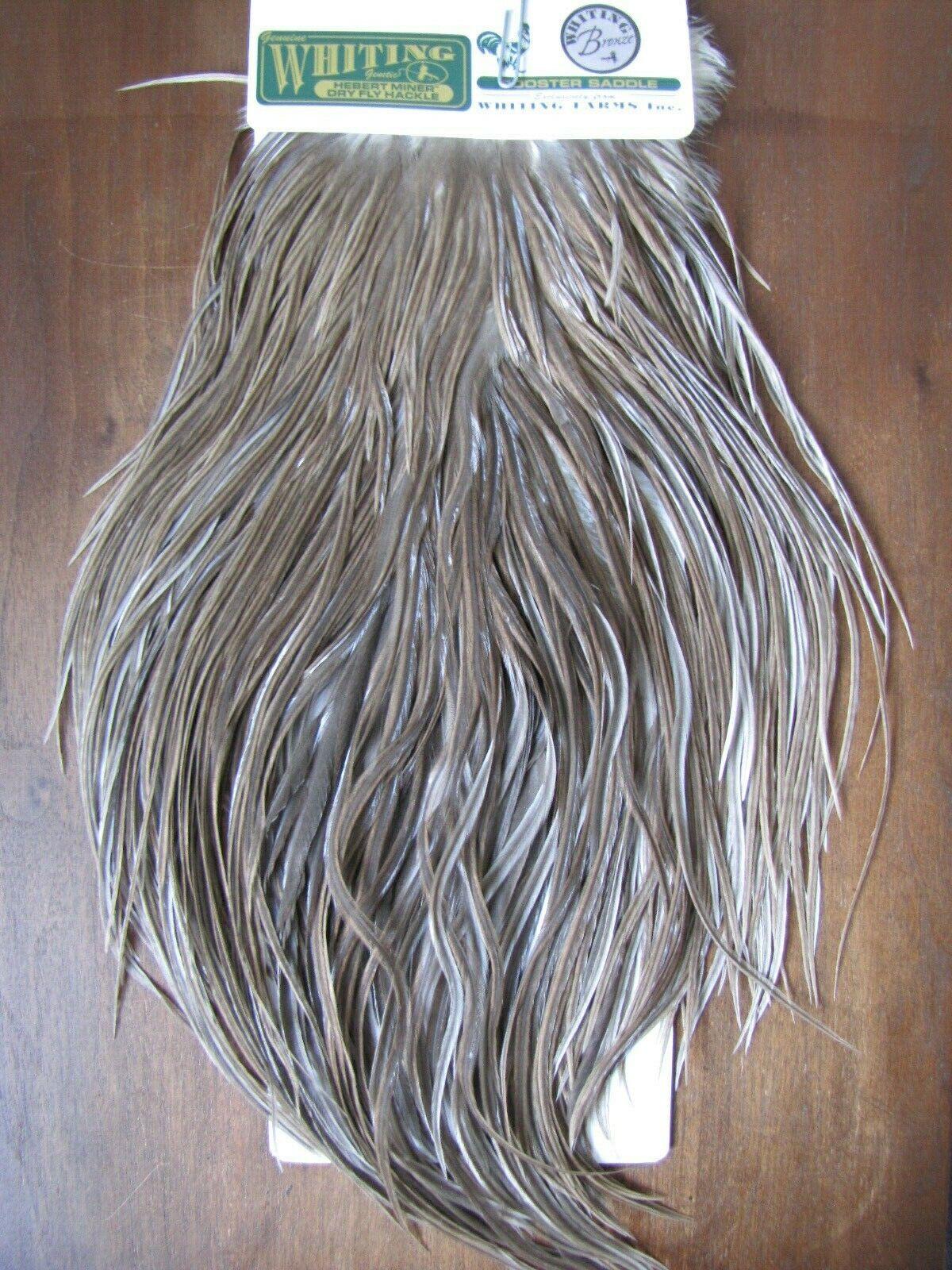 Fliegen Tying Whiting H M Bronze Rooster Saddle braun grau Dun  C