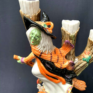 Vtg-Fitz-And-Floyd-Halloween-Witch-Candle-Stick-Halloween-Harvest-68-535