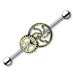 CS Rosengold Kugeln 1,6 mm Ø Industrial Barbell Piercing Ohr Hantel Stab Helix