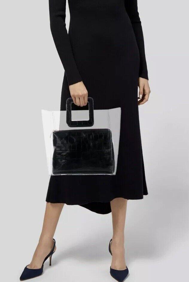 STAUD Black Shirley Leather PVC Tote Bag