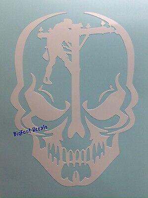 Skull Face Lineman Decal Telephone Electrical Pole Worker Window Truck Sticker