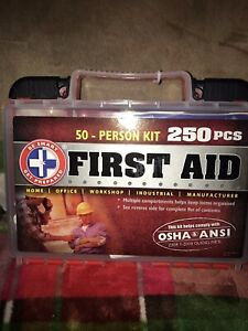 Be Smart Get Prepared 50 Person W 250 Pcs OSHA/ANSI Poly First Aid Kit
