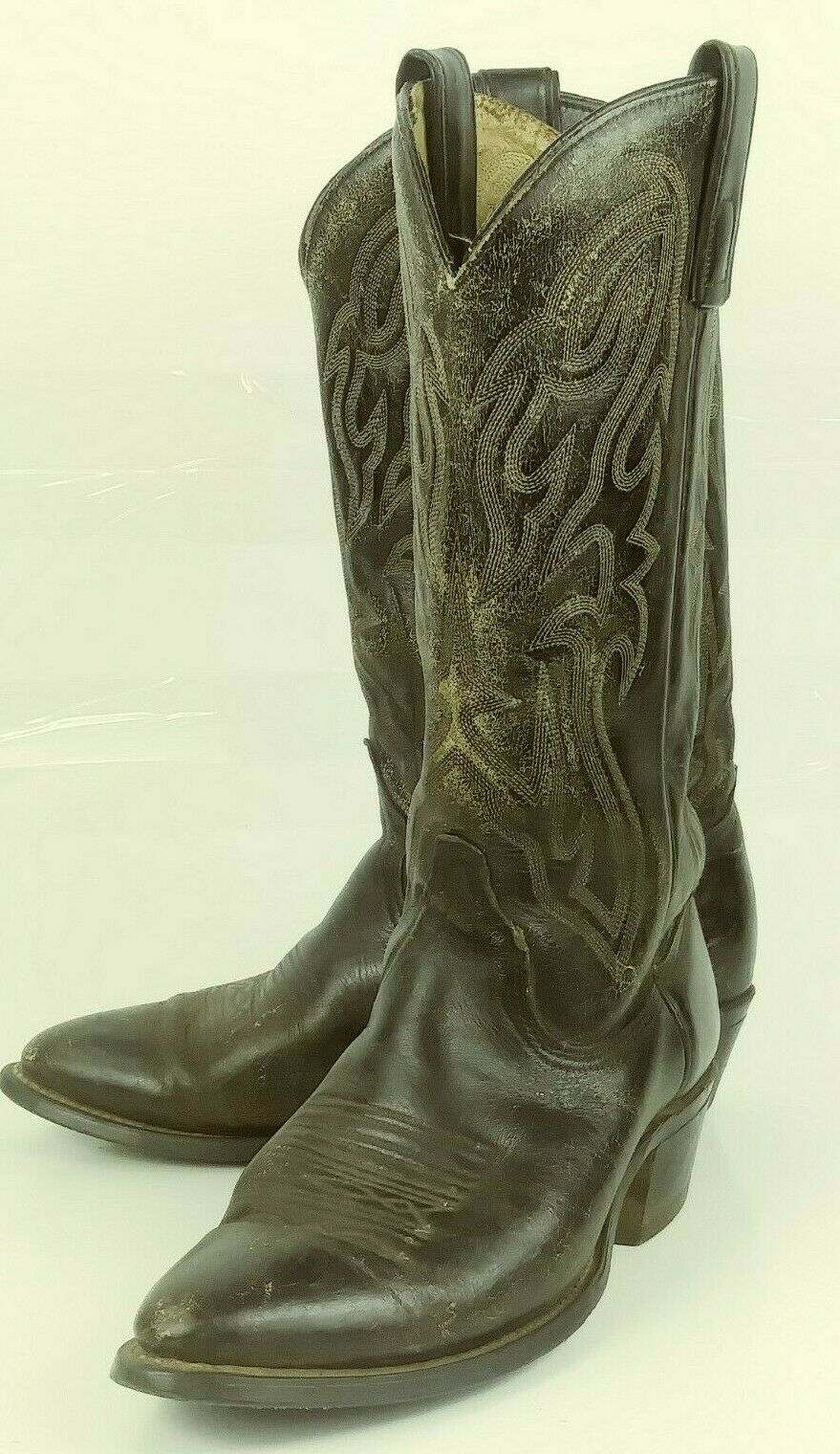 Texas 7800 Mens Boots Cowboy US 8 EE Black Leather Distressed rockabilly 6164