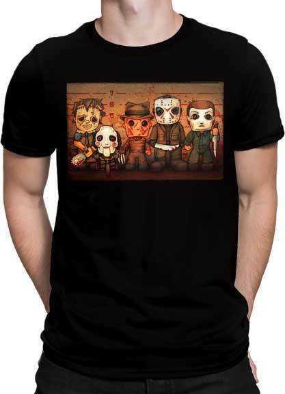 Major Horror Movie Mini Caricatures Adult T Shirt
