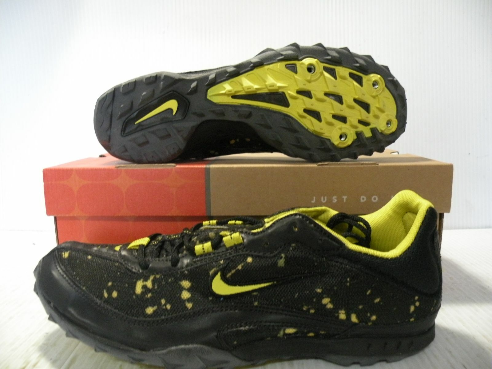 NIKE ZOOM WAFFLE SPIKE LOW MEN SHOES BLACK/YELLOW 308620-171 SIZE 11 NEW