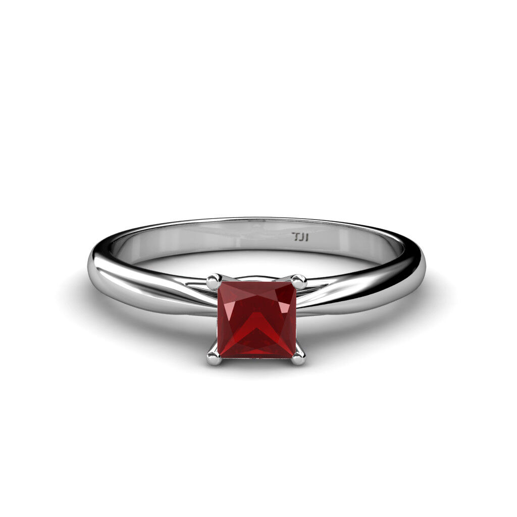 Princess Red Garnet Solitaire Engagement Ring 14K gold JP 79694