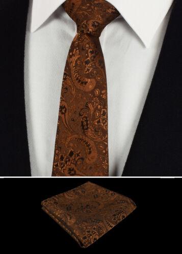 Herren Braun Bronze Geblümte Krawatte Seide Satz Paisley Einstecktuch