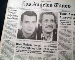 Best Rock Hudson Hollywood Golden Age Movie Film Actor Death 1985 L A Newspaper Ebay