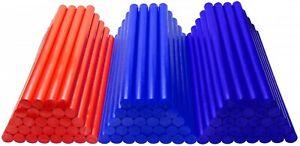 Ausbeul Heißkleber Set  90 Sticks ca. 200 x 11 mm 1,8 kg ROT BLAU ULTRAMARINBLAU