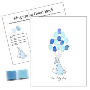 Details Sur Baby Shower Empreinte Souvenir Alternative Le Livre D Or Garcon Bleu Encre Tampons Afficher Le Titre D Origine