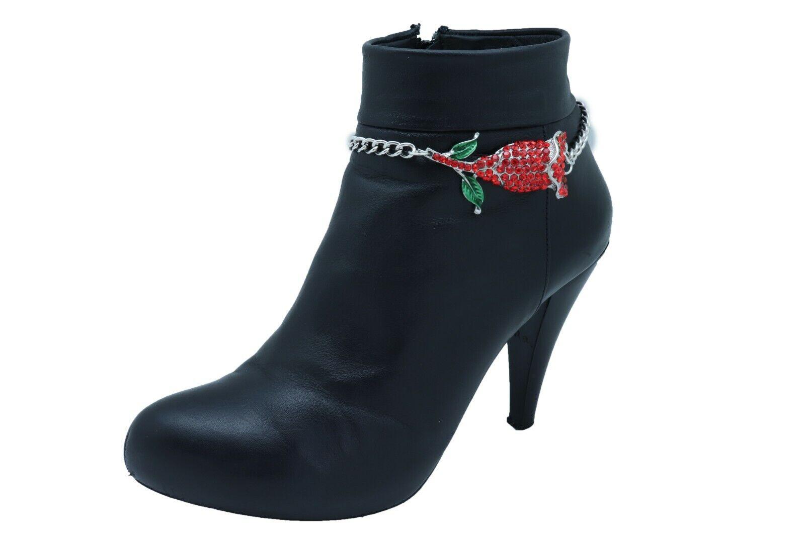 Women Silver Metal Chain Boot Bracelet Heel Shoe Anklet Red Flower Bling Charm