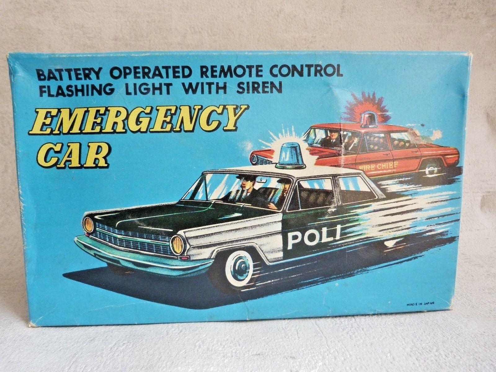 Voiture de police Emergency car filoguidée en boîte - Made Made Made in Japan - Jouet tôle 324667
