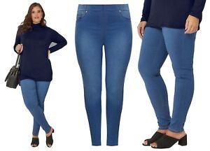 "Womens 16-28 Blue Denim Wash Straight Leg Jean 29/"" Leg Ladies Stretch Denim"