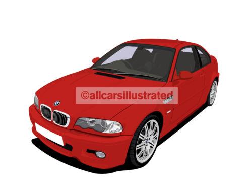 BMW M3 LARGE E46 CHOOSE YOUR CAR COLOUR. FRIDGE MAGNET