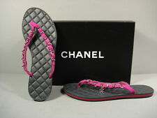 CHANEL PURPLE SUEDE SILVER CHAIN QUILTED LEATHER THONG CC FLIP FLOP 37/6.5 NEW