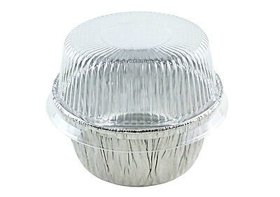 4 oz. Aluminum Foil Cup w/Clear Plastic High Dome Lid 300PK -Cupcake/Ramekin Tin