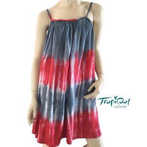 100% satisfaction guarantee choose best good texture Details about Ladies Tie Dye Summer Dress Plus Size   Red Grey
