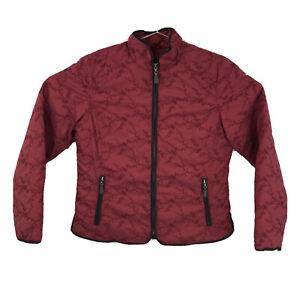 Womens Large Eddie Bauer Burgundy Premium Quilted Embroidered Goose Down Jacket
