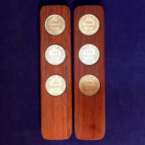 1990 Birthday Gift Present Jarrah Two-Up Game set 1990 Australian Pennies two up