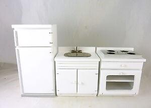 Dollhouse Miniature Complete Black Kitchen 3 Pc Set  ~ T0515