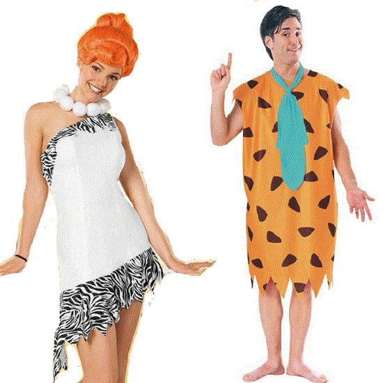Couples Mens AND Ladies Fancy Dress Fred Wilma Flintstone Adult Costumes Outfits