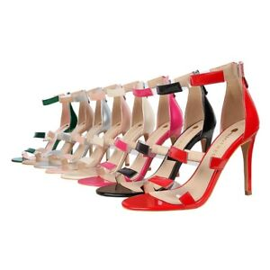 Ladies-Strappy-Shoes-Synthetic-Leather-Zip-High-Heels-Pumps-Sandals-US-Size-S182