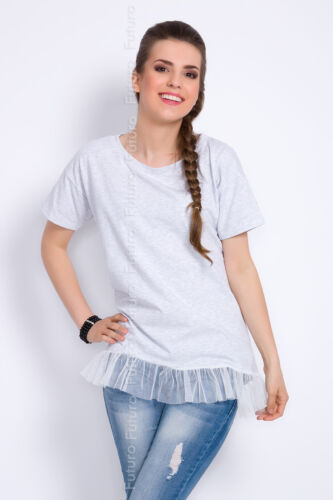 Womens Party Top With Mesh Frill Short Sleeve Cotton T-Shirt Size 8-12 FT2812