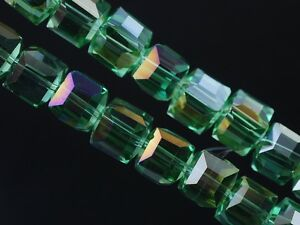 30pcs-6mm-Cube-Square-Faceted-Crystal-Glass-Charms-Loose-Beads-Grass-Green-AB