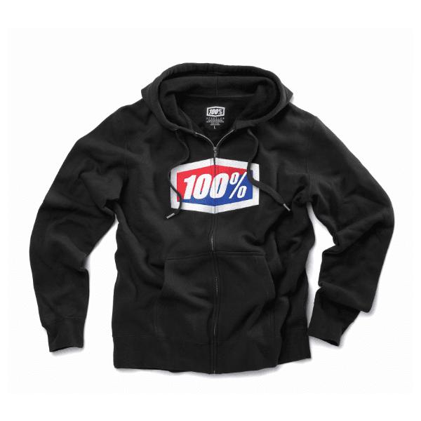 100% Adults Official Zip Up Motocross MX Mountain Bike MTB Hoody- Black