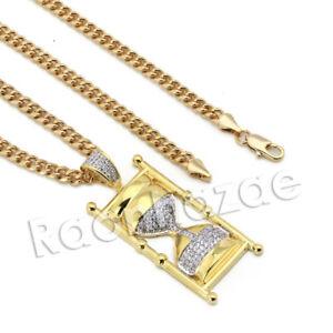 Lab-diamond-Micro-Pave-Dope-Hourglass-Pendant-w-Miami-Cuban-Chain-BR083