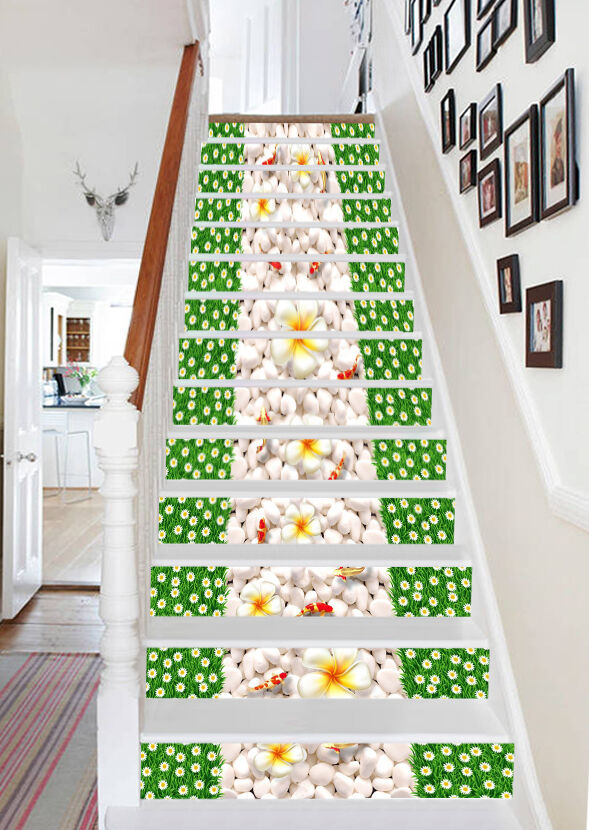 3D Cobble Petal 1 Stair Risers Decoration Photo Mural Vinyl Decal Wallpaper UK