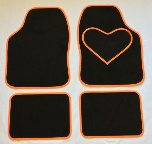 BLACK CAR MATS WITH ORANGE HEART HEEL PAD FOR VOLKSWAGEN POLO SCIROCCO TIGUAN UP