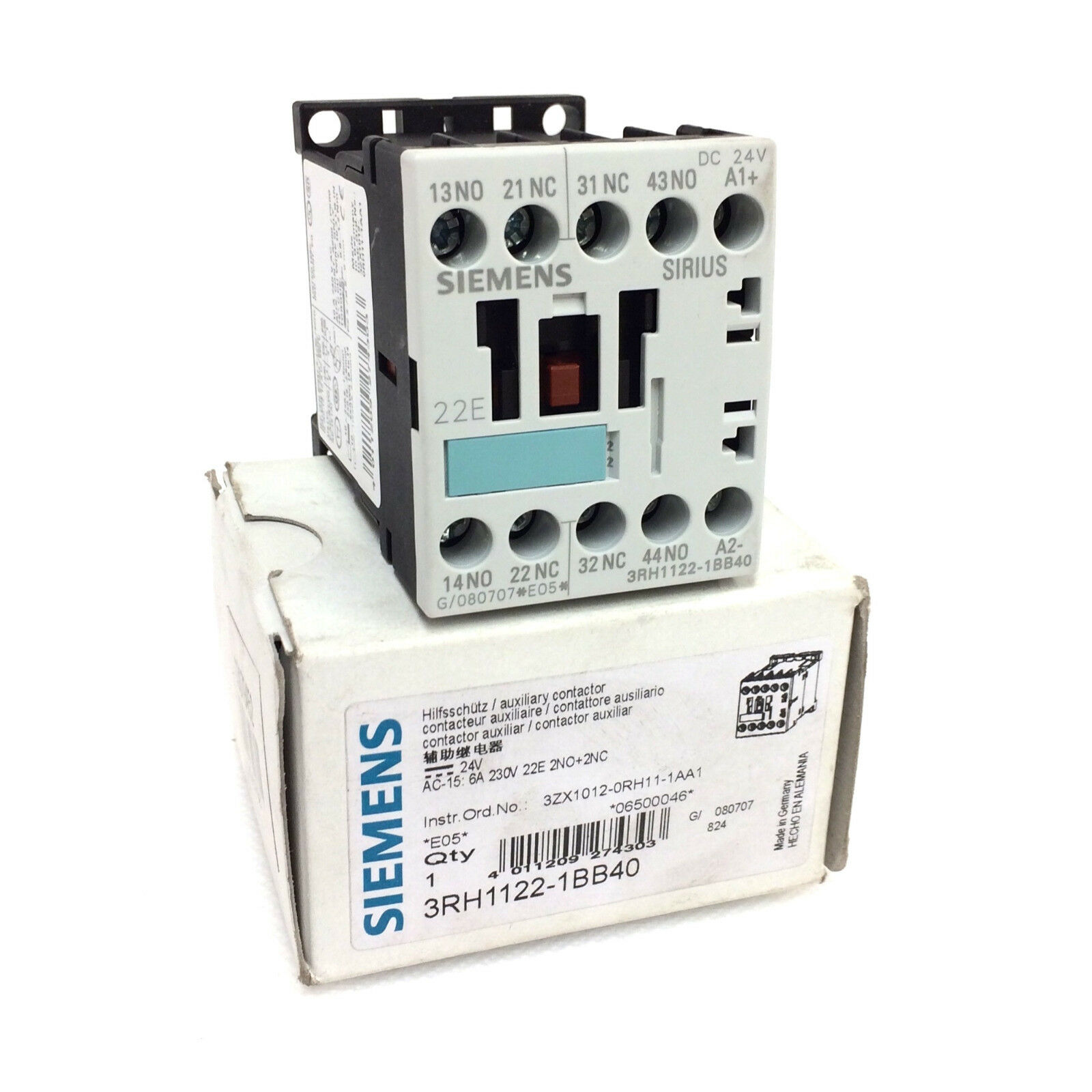 Auxilary Contactor 3RH1122-1BB40 Siemens 1.1kW 24VDC 3RH11221BB40