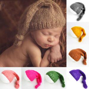 0bd0e8afb6da8 Details about Newborn Baby Girl Beanies Mohair Crochet Long Tail Elf Hat  Photography Props Cap