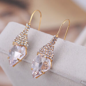 Details About Alexis Bittar Pave Swarovski Crystal French Hook Gold Plated Drop Earrings