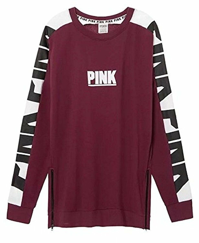 Victoria's Secret Pink New Oversize Varsity Sweatshirt Side-Zip Burgundy Large