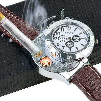 USB Rechargeable Quartz Watch Windproof Flameless Cigarette Lighter Watch White