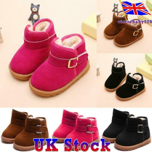 Kids Girls Warm Winter Fur Lined Snow Ankle Boots Buckled School Shoes Size UK