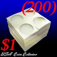 (200) Large Dollar Size 2x2 Mylar Cardboard Coin Flips For Storage | $1 Holder
