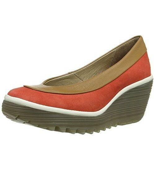FLY LONDON YOKO ROT PLATFORM WEDGE COURT Schuhe HEEL PUMPS UK 8 EUR 41