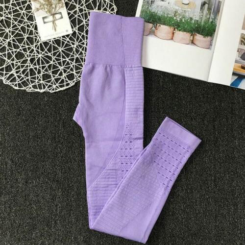 UK Womens Seamless Leggings Sports Gym High Waist Tummy Control Yoga Pants