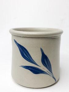 Williamsburg Pottery Cobalt VA Blue Salt Glaze Sugar Bowl Hand Painted Stoneware